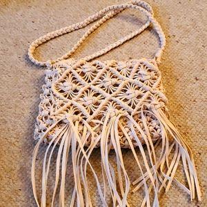 Macrame Style Fringe Bag NWT